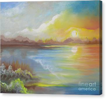 Canvas Print featuring the painting Wish You Were Here. by Nereida Rodriguez