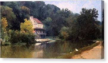 A Duck And A House On The Canal Canvas Print by Spyder Webb