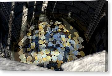 Wishing Well With Coins Perspective Canvas Print by Allan Swart