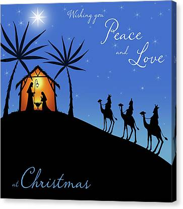 Nativity Canvas Print - Wishing You Peace - Wisemen by P.s. Art Studios