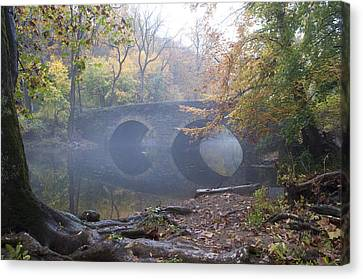 Wissahickon Creek And Bells Mill Road Bridge Canvas Print by Bill Cannon