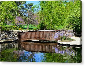 Wisteria In Bloom At Loose Park Bridge Canvas Print