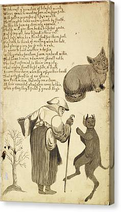 Witch And Her Cat Canvas Print by British Library