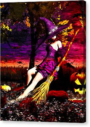 Witch In The Pumpkin Patch Canvas Print by Bob Orsillo