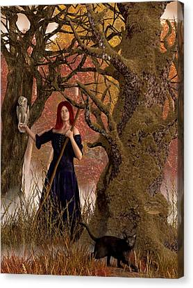 Wiccan Canvas Print - Witch Of The Autumn Forest  by Daniel Eskridge