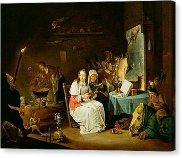 Witches Preparing For The Sabbat Canvas Print by David the Younger Teniers