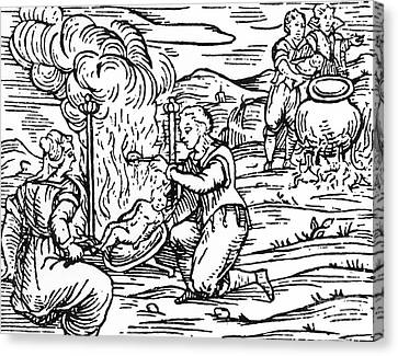 Sacrificial Canvas Print - Witches Roasting And Boiling Infants by Italian School