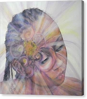Canvas Print featuring the painting With Dahlia by Jodie Marie Anne Richardson Traugott          aka jm-ART