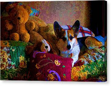 With His Friends On The Bed Canvas Print