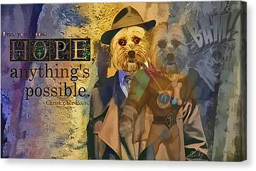 Canvas Print featuring the digital art With Hope Anything Is Possible 5 by Kathy Tarochione
