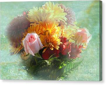 With Love Flower Bouquet Canvas Print by Luther   Fine Art