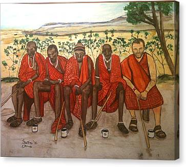 With The Masai Canvas Print