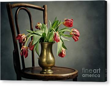 Sadness Canvas Print - Withered Tulips by Nailia Schwarz