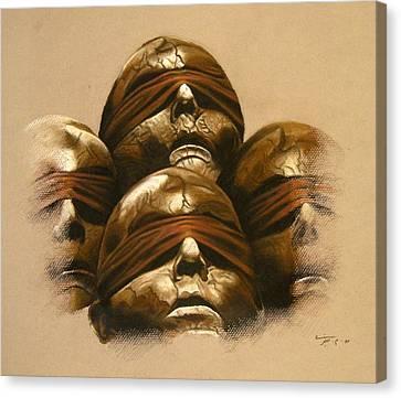 Hidden Face Canvas Print - Some Heads by Mojgan Jafari