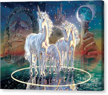 Wizard And Unicorns Canvas Print by Adrian Chesterman