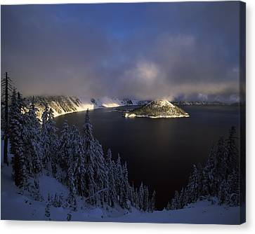 Wizard Island Canvas Print - Wizard Island At Crater Lake In Winter by Panoramic Images