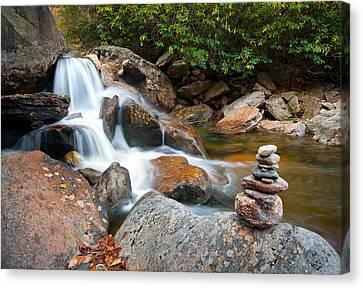 Western North Carolina Canvas Print - Wnc Flowing Zen Waterfalls Landscape - Harmony Waterfall by Dave Allen