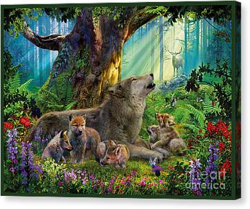 Wolf And Cubs In The Woods Canvas Print by Jan Patrik Krasny