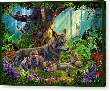 Wolf And Cubs Canvas Print by Jan Patrik Krasny