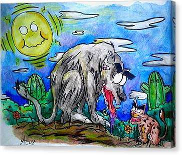 Wolf And Friend Canvas Print