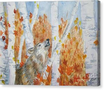 Wolf Call Canvas Print by Ellen Levinson