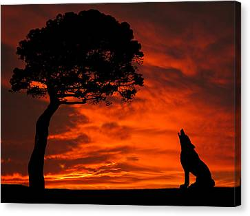 Canvas Print featuring the photograph Wolf Calling For Mate Sunset Silhouette Series by David Dehner