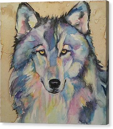 Canvas Print featuring the painting Wolf by Christy  Freeman