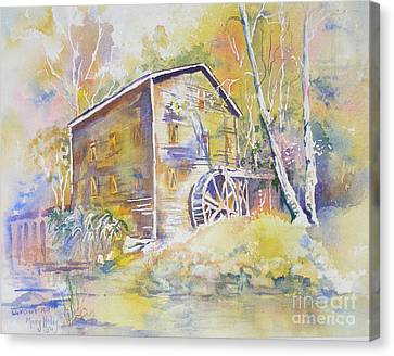 Canvas Print featuring the painting Wolf Creek Grist Mill by Mary Haley-Rocks