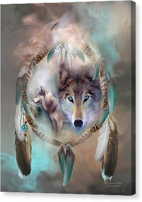 Canvas Print featuring the mixed media Wolf - Dreams Of Peace by Carol Cavalaris