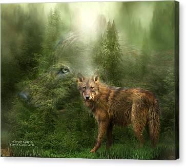Wolves Canvas Print - Wolf - Forest Spirit by Carol Cavalaris