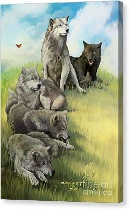Wolf Gathering Lazy Canvas Print