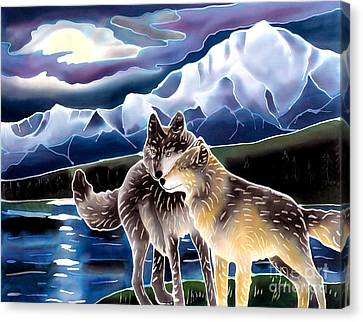 Wolf Greeting Canvas Print by Harriet Peck Taylor