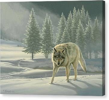 Wolf In Fog    Canvas Print