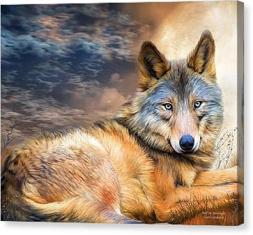 Animal Canvas Print - Wolf In Moonlight by Carol Cavalaris