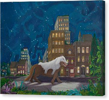 Canvas Print featuring the painting Wolf In Sheep's Clothing by Matt Konar