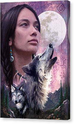 Native American Spirit Portrait Canvas Print - Wolf Montage by Garry Walton