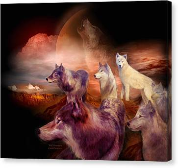 Wolves Canvas Print - Wolf Mountain by Carol Cavalaris