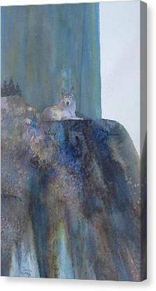 Wolf On Cliff Canvas Print
