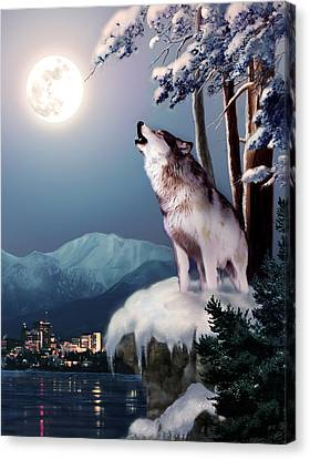 Wolf On The Doorstep Of Civilization  Canvas Print by Regina Femrite
