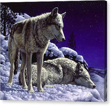 Prairie Dog Canvas Print - Wolf Painting - Night Watch by Crista Forest