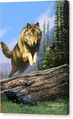 Canvas Print featuring the painting Wolf Run Indian Hunter by Rob Corsetti