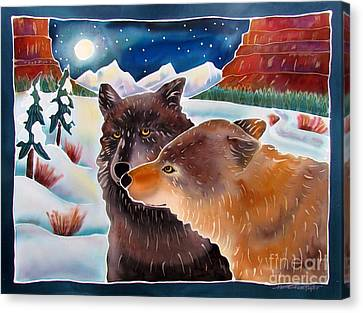 Wolf Talk Canvas Print by Harriet Peck Taylor