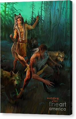 Wolf Warriors Change Canvas Print by Rob Corsetti