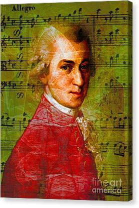 Wolfgang Amadeus Mozart 20140121v1 Canvas Print by Wingsdomain Art and Photography