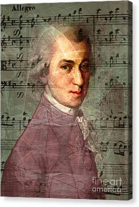 Kitschy Canvas Print - Wolfgang Amadeus Mozart 20140121v2 by Wingsdomain Art and Photography