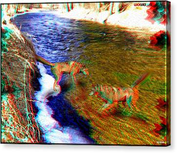 Wolves 3d Anaglyph Canvas Print