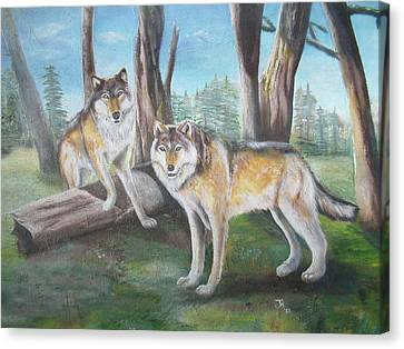 Canvas Print featuring the painting Wolves In The Forest by Thomas J Herring