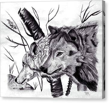 Canvas Print featuring the drawing Wolves by Mayhem Mediums