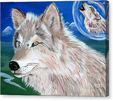 Canvas Print featuring the painting Wolves by Phyllis Kaltenbach