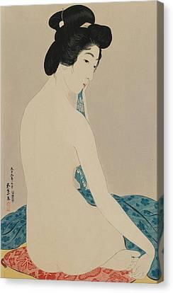 Woman After A Bath Taisho Era Canvas Print by Goyo Hashiguchi